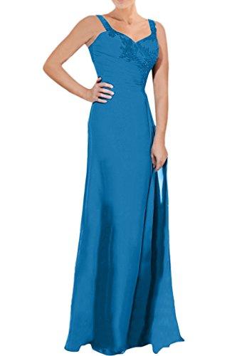 Sunvary Elegant Neu Mutterkleider Chiffon Applikation Paillette Abendkleider Partykleider mit Bolero Blau