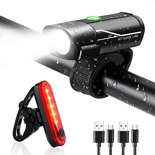 Fahrradlicht Set - LED Fahrradbeleuchtung - Wasserdicht Frontlicht Rücklicht Fahrradlampe fahrradlichter USB Wiederaufladbare Set