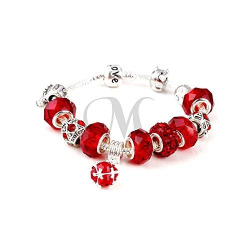 Armband Shamballa rot vergoldet weiß 18K Rotes Shamballa Armband