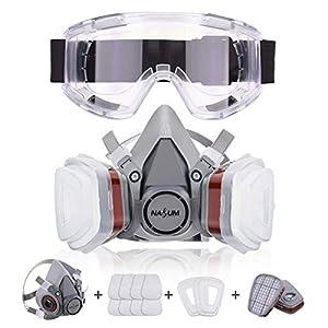 Atemschutzmaske NASUM Schutz Halbmaske mit Schutzbrille für Farbspritz, Staub, Chemikalien, Schutz Geruchsminderung für Sprüh-, Sanierungs-,Lackier- und Schleifarbeiten(neu)
