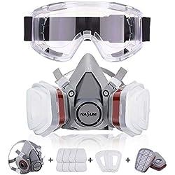 NASUM Respirador Máscara Antipolvo con 2 filtros / 2 Cajas / 8 algodones/Gafas Protectoras, contra Polvo/partículas/Vapor/Gas, para Artesanos/Bricolaje/fumigación de Pintura/pesticidas, etc.