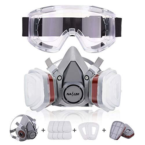 Atemschutzmaske NASUM Halbmaske mit Schutzbrille Schutz für Farbspritz, Staub, Politur, Schutz Geruchsminderung für Sprüh-, Sanierungs-,Lackier- und Schleifarbeiten(neu)