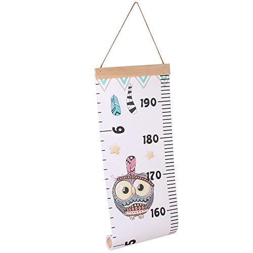 Decdeal Kinder Messlatte Tragbare Aufrollbar Wachstumsmesser Messleiste aus Leinwand und Holzrahmen 200x20cm