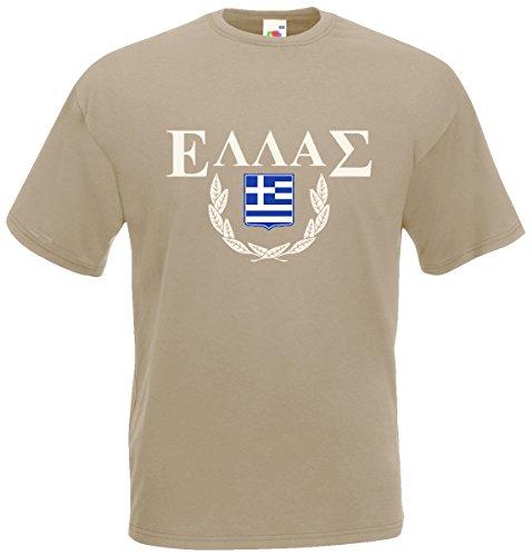 Griechenland Hellas T-Shirt Fanshirt Khaki