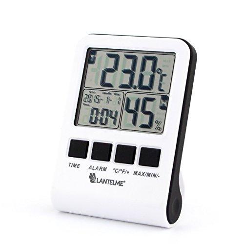 Lantelme 6447 Digital Thermometer - Hygrometer mit Minmax - Uhr - Wecker - Kalender - Multifunktionsgerät Farbe weiß