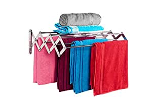 LIVINGBASICS® 7 ROD - Rust-free Stainless Steel Wall Mount/Mounted/Mounting Clothes Drying Stand/Cloth Dryer Racks/Towel Dry Foldable Laundry Rack For Bathroom/Balcony/Indoor/Outdoor