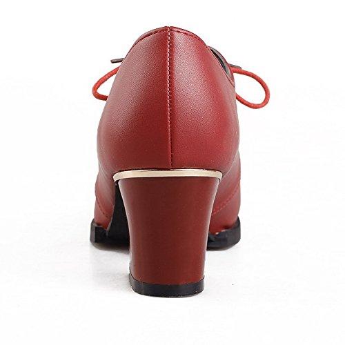 VogueZone009 Donna Finta Pelle Scamosciata Allacciare Scarpe A Punta Punta Chiusa Tacco Medio Ballerine Rosso