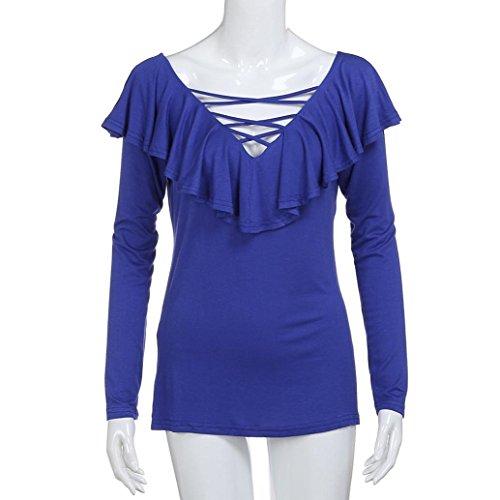 Kword Maglia Donna Maglietta Floreale Scollo Tondo Donna Volant Scollo A V Manica Lunga Camicia Casual Camicetta Top camicia blu scuro