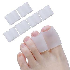 Sumifun Gel-Zehenkappen, aus angenehm weichem Material, verhindert Blasenbildung, Hühneraugen, für Erwachsene, für große und kleine Zehen, 10Stück
