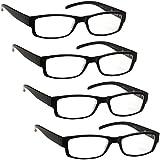 bdafcc17968 The Reading Glasses Company Black Lightweight Comfortable Readers Value 4  Pack Designer Style Mens Womens UVR4PK032