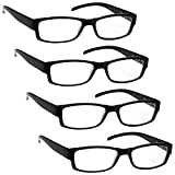 The Reading Glasses Company Black Lightweight Comfortable Readers Value 4 Pack Designer Style