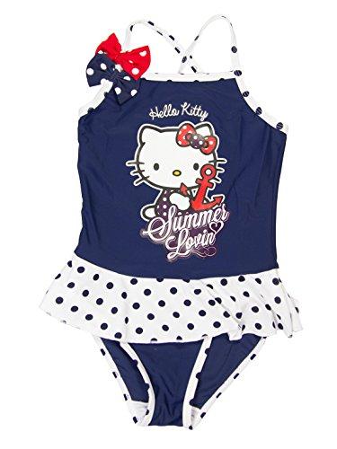 Hello kitty - costume da bagno ufficiale da bambina, 1 pezzo, età 3, 4, 5,6 anni blu 8 anni
