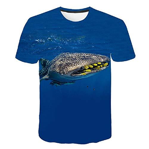 Frauen/Männer 3D Kurzarm T-Shirt Druck 3D Tees Tops Ocean Shark Druckmuster XXL (Street Sharks Kostüm)