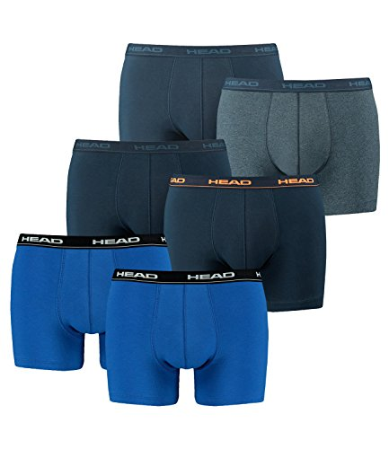 HEAD Men Boxershort 841001001 Basic Boxer 6er Pack 1x2er blue/black (021) / 1x2er peacoat/orange (493) / 1x2er blue heaven (494)