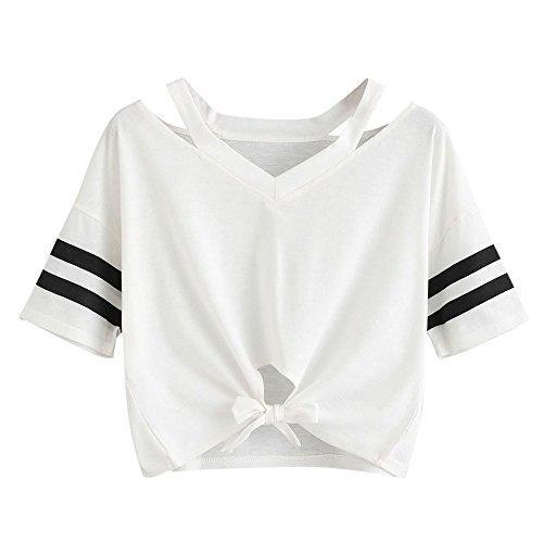 Damen Sommer T-Shirts Riemen Rundhals Tie up Kurzarm Crop Top Saum Streifen Shirt Junges Mädchen Oberteil Bluse