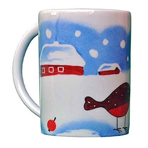 Helina Tilk Gingerbread Bird Cup with Handle Porcelain Hand-Painted