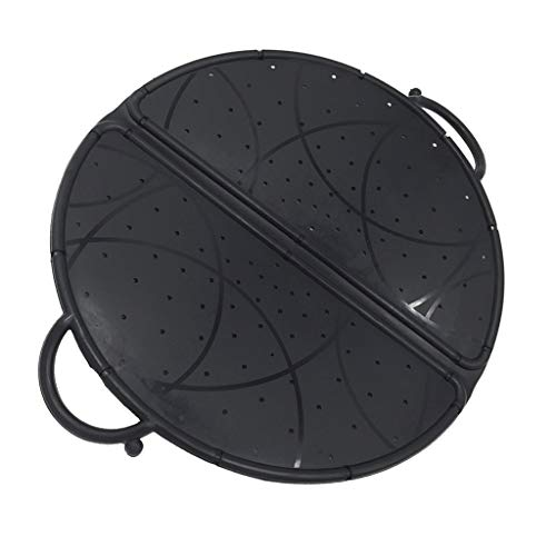 P PRETTYIA Black Foldable Colander/Strainer Splatter Screen Silicone Mixer Splash Guard Mixing Bowl Protector Lid Kitchen Tool