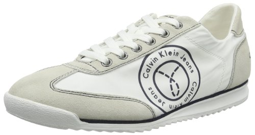 Calvin Klein Jeans Maximius Washed Heavy Nylon Suede, Chaussures de basketball homme Blanc (Wny)