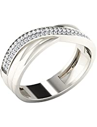 Silvernshine 0.23 Cts Round Cut Sim Diamond Swirl Engagement Band Ring In 14KT White Gold PL