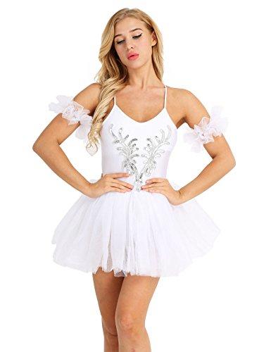 Tiaobug Damen Ballett Kleid mit Tüll Rock Ballett Trikot Body Ballettanzug Spagettiträger Tanzkleid weiß Tutu Kostüm Weiß XL (Weiße Trikot Kostüm)
