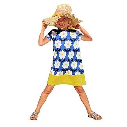 JERFER Mädchen Cartoon Vogel Druck Stickerei Streifen Kleid T-Shirt Top Bluse Kurzarm-Shirt 2- 6Jahre (Gelb, 6T) - Leder Jungen 4t Jacke
