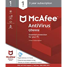 McAfee Antivirus - 1 User, 3 Years (Email Delivery in 2 hours- No CD)