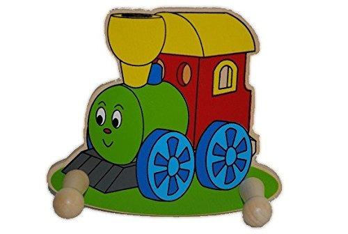 Garderobe für KINDER - mit 2 Kleiderhaken - Eisenbahn  Zug - aus Holz - Holzgarderobe  Kindergarderobe - Garderobenhaken - Mädchen & Jungen - Kinderzimmer - Lokomotive