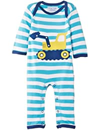 Toby Tiger Baby Boys Organic Digger Sleepsuit Striped Romper