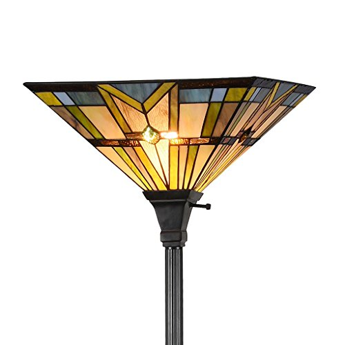 Docheer Tiffany-Stil Hängelampe, 180 cm Höhe, 35,6 cm Lampenschirm, mehrfarbig Tiffany 1601 Series - Mission Bronze-finish