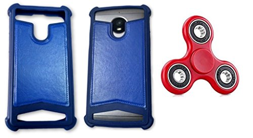 BKDT Marketing Rubber and Leather Soft Back Cover for MICROMAX A190 Canvas HD Plus- Blue with Fidget Spinner  available at amazon for Rs.519