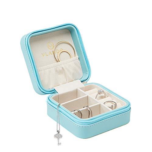 Vlando Kleine Reise Schmuckkästchen Aufbewahrungstasche für Ringe Ohrringe Halskette (Blau)