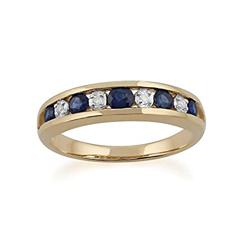 Gemondo Bague Saphir, 9ct Or Jaune 0,49 Ct Saphir Et Diamant Bague Mi-éternité