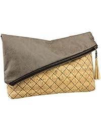 Alameng: Handtasche, Clutch, Tasche, Kork, Kunstleder, asymetrisch, Handarbeit, handmade