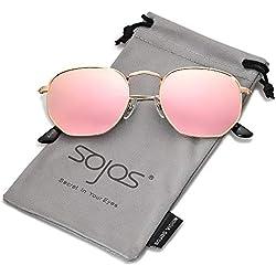 SOJOS Retro Vintage Specchio Lenti Poligono Protezione UV Occhiali da Sole SJ1072 Con Oro Telaio/Rosa Lente