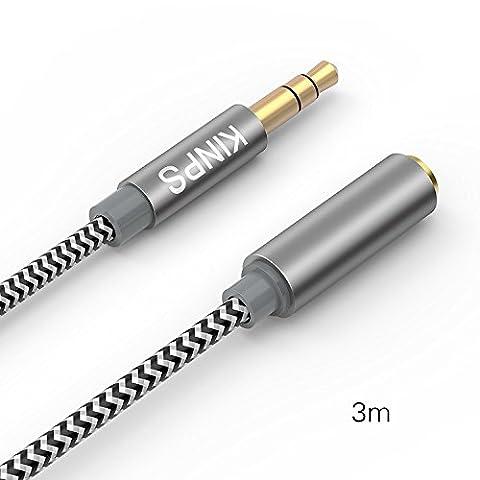 Kinps 3M Câble Audio Rallonge Stéréo En Nylon Tressé - Jack Stéréo 3,5mm Mâle Vers Femelle Pour Téléphones, Ecouteurs, Haut-parleurs, Tablettes, PC, Lecteurs MP3 et plus (3M,Noir)