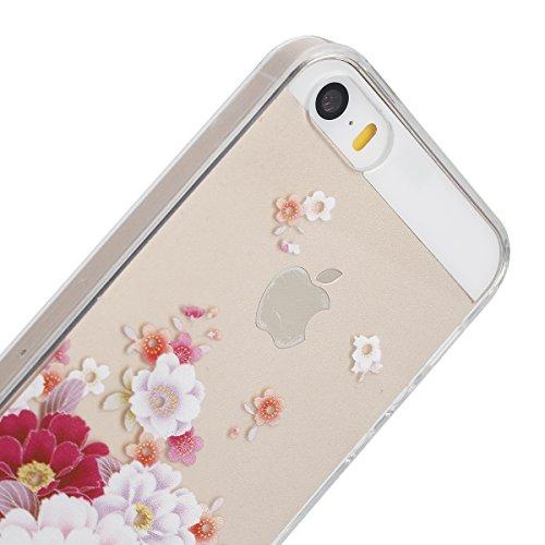 Apple iphone 6s plus Transparent Silikon Case,iPhone 6 plus hülle,Ekakashop Ultra dünn Slim Durchsichtig Transparente Muster Crystal Gel Silikon TPU Motiv Bumper Cas Schutzhülle Etui Tasche Cover Schu Pfingstrose