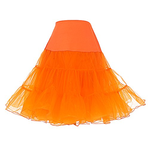 Dresstells 1950 Petticoat Reifrock Unterrock Petticoat Underskirt Crinoline für Rockabilly Kleid Orange L (Rock Dance Schwarzen Square Langen)