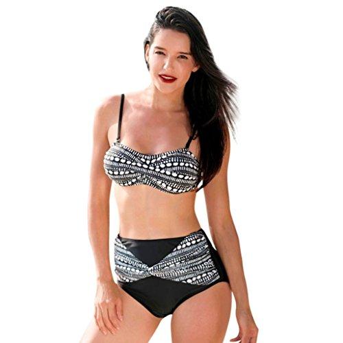 smileq Frauen Bikini swinsuit Dots Print Zwei Stück Badebekleidung Hohe Taille Strand Anzug, Schwarz , Large (Gitarrengurt Hoch)
