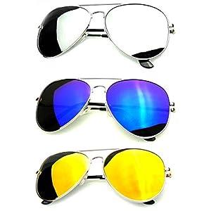 Younky Unisex Combo Of Uv Protected Aviator Stylish Mercury Sunglasses For Men Women Boys & Girls ( Gm-Sm-Bm|55|Silver ) – 3 Sunglass Case