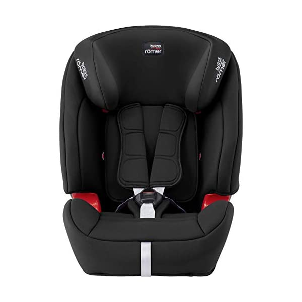 Britax Römer EVOLVA 1-2-3 SL SICT Group 1-2-3 (9-36kg) Car Seat - Cosmos Black  CLICK & SAFE audible harness system for that extra reassurance when securing your child in the seat The padded headrest and harness can easily be adjusted with one hand to suit your child's height performance chest pads - provide comfort and reduce your child's forward movement in a frontal collision 3