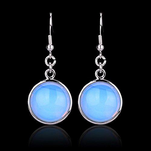 Nolunt (TM) rotonda reale Ametista pietra di gemma opale orecchini ORECCHINI argento placcato Orecchini Elegante quarzo rosa per le donne