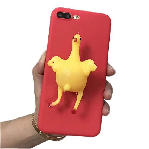 Bontujoy Schutzhülle für iPhone 7/ iPhone 8, super lustiges Huhn mit eierlagigem Hühnchen, Druckentlastung, lustiges Squishy Huhn aus TPU, ultradünn, starker Schutz iPhone X/XS Red chicken -
