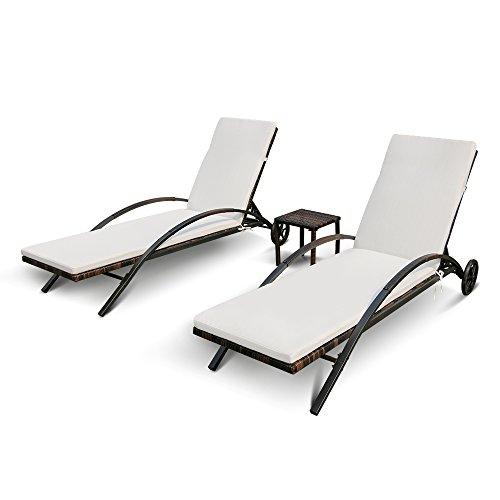41xxzlT7CwL. SS500  - iKayaa Garden Rattan Furniture 3PCS Sun Lounger Set with Side Table Adjustable Back Outdoor Patio Sunlounger + Iron Frame