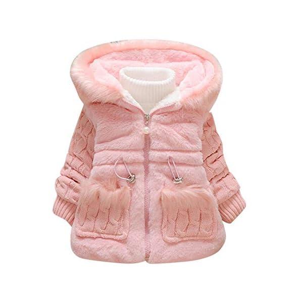 Abrigos de Niñas Invierno Imitacion Pelo PAOLIAN Chaquetas de para Niñas Vestir Otoño con Capucha Cuello Mapache… 1