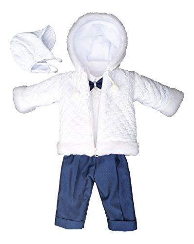 Set Winter Taufanzug Festanzug Jacke Winterjacke Hose Hemd Taufe Baby Anzug, Adam, Gr.68, weiß-blau