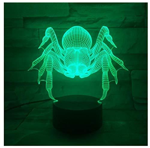 3D Led Nachtlicht Spinne Mit 7 Farben Des Lichts Für Hauptdekoration Beleuchtet Erstaunliche Sichtoptik Halloween-Dekoration Geschenk Der Bösen Geister-Touch