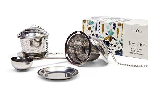 meitea - Tee-Ei Edelstahl Teefilter (2er Set) mit Abtropfschale und Teelöffel - hochwertiges Teesieb & Teekugel