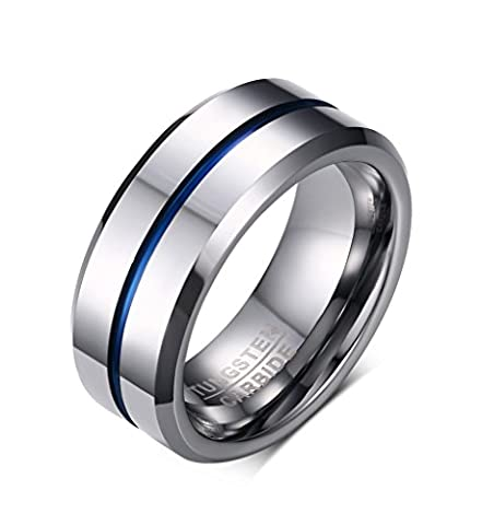 Vnox Men's Tungsten Rings with Blue Grooves Inlay High Polish Comfort Fit Wedding Band 8mm Width