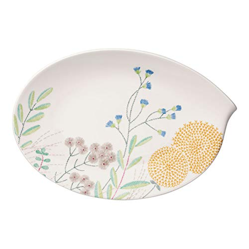 Villeroy & Boch Flow Couture Ovale Platte, 36 cm, Premium Porzellan, Weiß/Bunt Ovale Platte