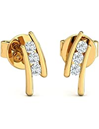 Stylori 18k Yellow Gold and Diamond Unknitted Stud Earrings